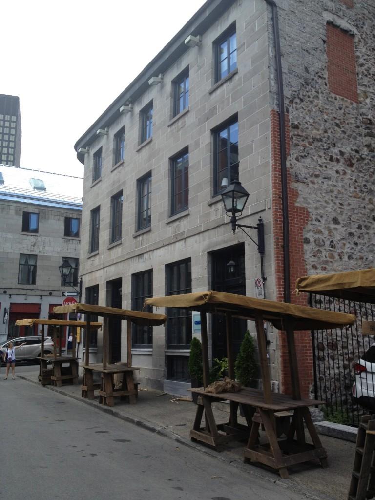 Old Montreal historical market being set up